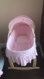 Pink Moses basket brand new
