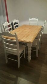Large Bespoke 6ft x 3ft Farmhouse Table and Chair Set