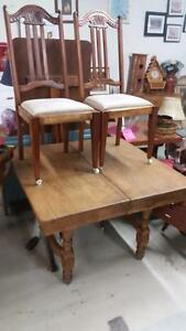Vintage Dining Table with 4 Chairs for Sale