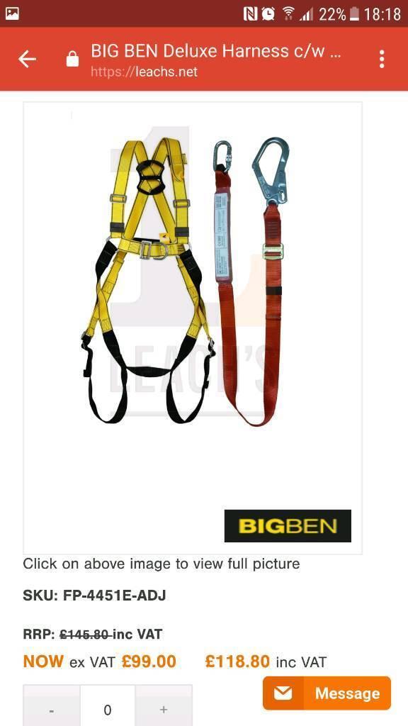 BNIB Big ben builder deluxe harness c/w adjustable fall arrest webbing lanyard bnib rrp £119.00