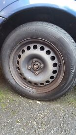 Set of 4 alloy wheels and tyres.