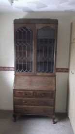 Writing Desk with Glazed Display Cabinet