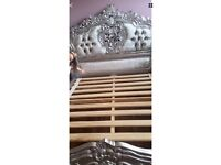 French silver rococo carved bed crushed velvet