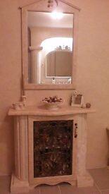 HANDMADE DESIGNER BESPOKE BATHROOM CABINET & MATCHING MIRROR.OTHER MATCHING BATHROOM ITEMS,SEE PICS