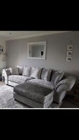 Crushed velvet sofa excellent condition Chesterfield