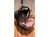 Maxi-Cosi Cabriofix car seat with newborn insert and Isofix base