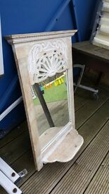 White washed candle mirror