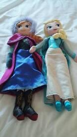 Disney store soft Elsa & Anna dolls