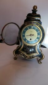 Vintage French Silvoz Paris Brass & Enamel Mantel Clock - Working