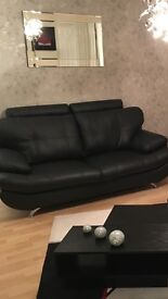 Black Leather Three And Two Seater