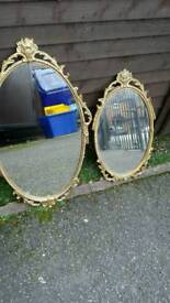 Two antique rococo gold guild cast carved mirrors £20