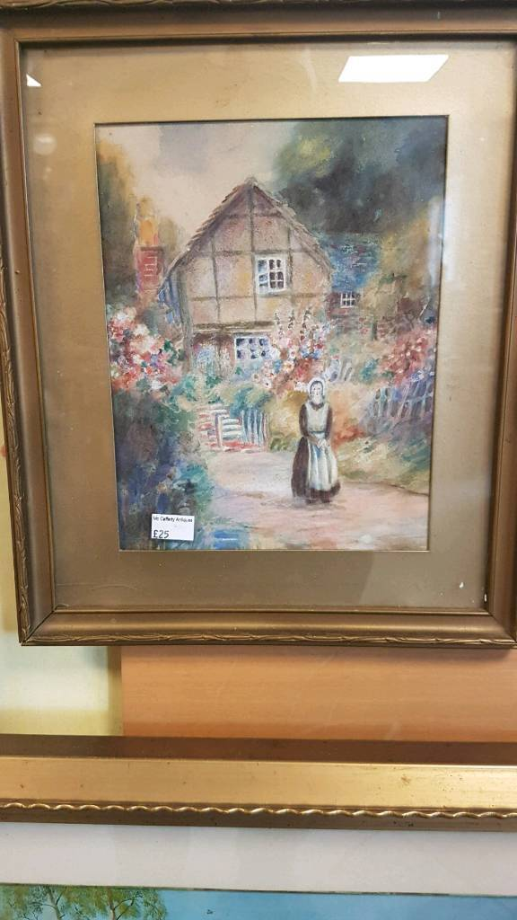 Antique naive watercolor painting