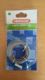3 Metre Modem Lead – RJ11(4pin) to Telephone (4pin) Crossover Homebase - NEW