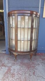 Antique Display Case With Glass Shelving