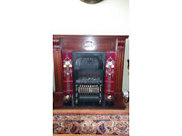 Repro antique fireplace with electric fire included. Excellent condition