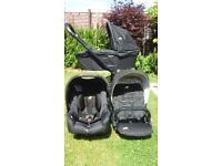 BARGAIN - JOIE 3 part pram system - pram, stroller and car seat with rain covers for all 3.