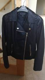Ladies Black Leather Jacket Miss Selfridge Uk10