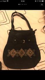 Real suede large ladies hobo bag
