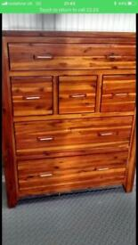Stunning kember acacia wood chest of drawers