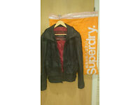 Mens Superdry black/dark grey leather jacket limited edition size small 38""