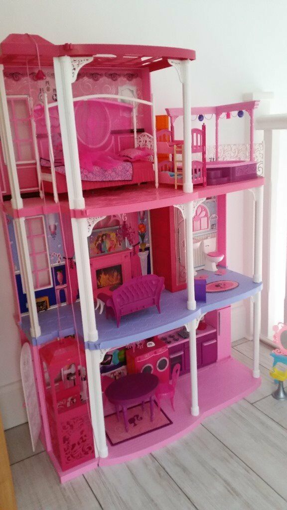 BARBIE 3 STOREY HOUSE, CAR, SCOOTER WITH KEN & BARBIE DOLLS EXCELLENT CONDITION