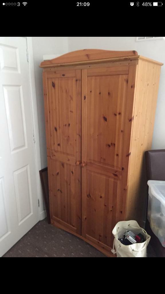 Wardrobe, double bed , chest of drawers , bed side table