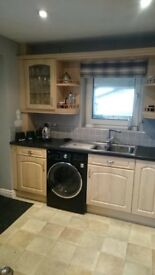 Kitchen Units, worktops, chrome sink, built in extractor and tiles (where applicable)