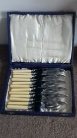 Vintage set of 6 fish knives and forks