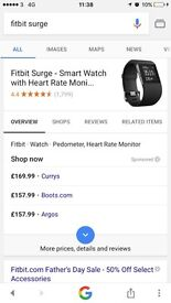 BNIB FITBIT SURGE WATCH FOR SALE / SIZE LARGE / RRP £160