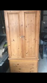 Two piece pine wardrobe and drawers