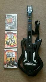 Nintendo wii guitar and 3 games