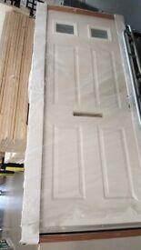 BRAND NEW 2 TOPLIGHT WHITE GLAZED EXTERIOR FRONT DOOR