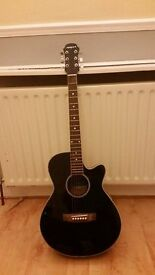 Aria Elecord FET-01X Thru Black Electro-Acoustic Guitar