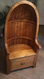 Gothic Style 'Abbot's Chair' with Drawer