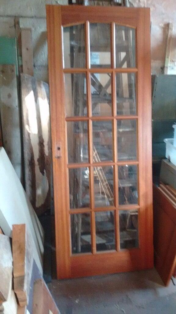 15 Pane Hardwood Glazed Interior Door And 15 Pane Side Panel In