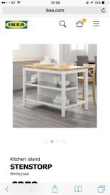 Nearly new Ikea Kitchen Island with two chairs