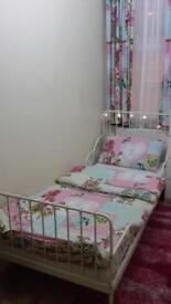 White Metal framed adjustable bed+mattress