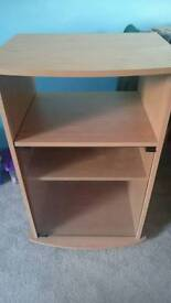Wooden single shelve unit with glass door excellent condition