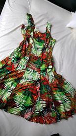 BRAND NEW Roman flare dress, size 14, flattering, tropical design, never worn, eye-catching