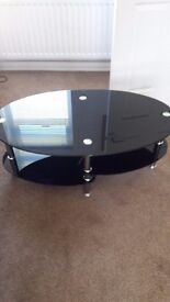 Black glass two teir coffee table