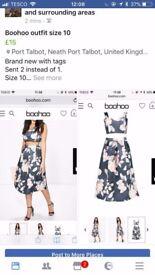 Boohoo brand new crop n midi skirt