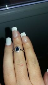 REDUCED . Beautiful well looked after 18crt white gold sapphire and diamond ring size L