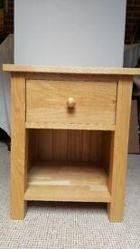 Solid Oak Bedside Drawer & Shelve