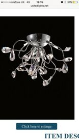 United light 6s crystal pear ceiling light