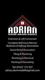 Bathroom, wet room, kitchen, tilling, plumbing &electrical, painting&decorating