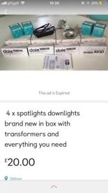 4 x spotlights downlights brand new in box with transformers and bulbs
