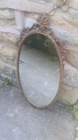 Vintage Antique French Gold Metal Framed Wall Hanging Mirror Oval Brass