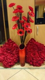 Next Vase with artificial Poppies & 2 Rocha John Rocha Red Cushions