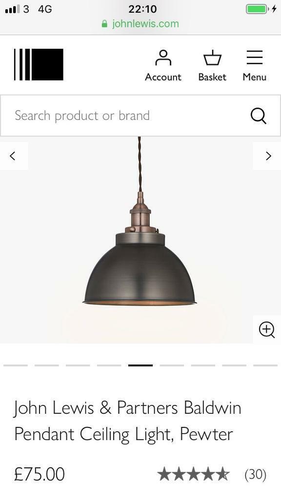 3568ee6116fe John Lewis Baldwin Pewter Pendant Ceiling Light Lamp | in Poole ...