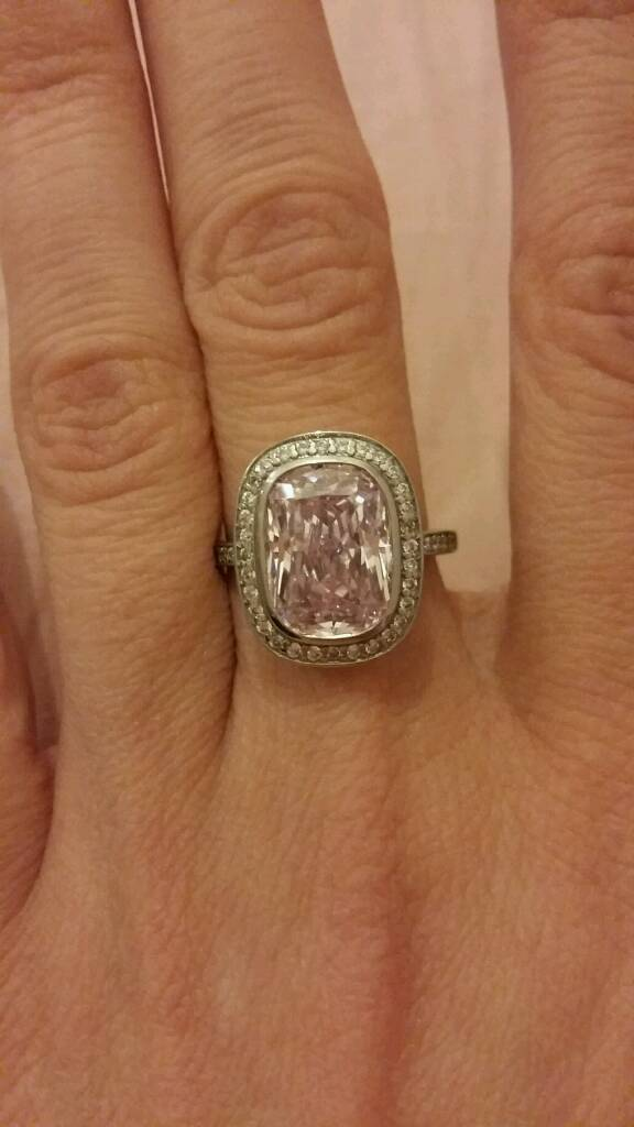 Carat* London Pink Cushion Cut Ring in Sterling Silver